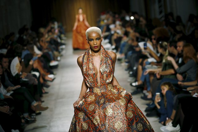 Models present creations by designer Nadir Tati, as part of her Summer 2016 collection, during Lisbon Fashion Week, Portugal, October 11, 2015. (Photo by Rafael Marchante/Reuters)