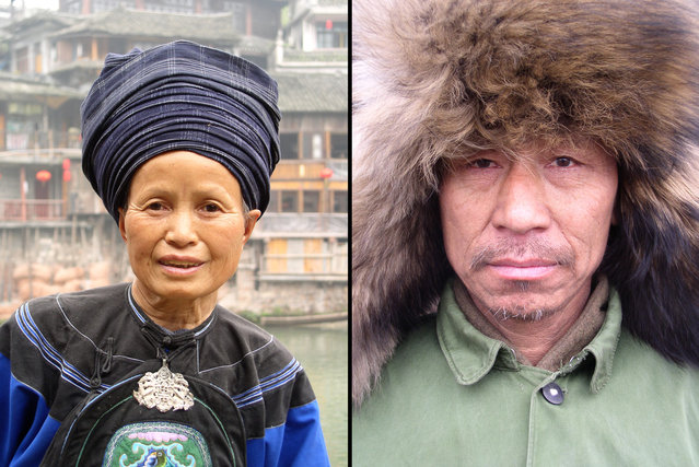 Left: Miao ethnic minority tribeswoman in Hunan. Right: Manchurian man with a dog fur cap in Heilongjiang. (Photo by Tom Carter/The Atlantic)
