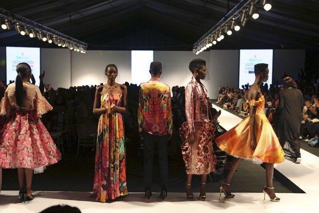 Models wearing clothes by design Onalaja pose on the runway during Lagos Fashion and Design Week in Lagos, Nigeria, October 29, 2015. (Photo by Joe Penney/Reuters)