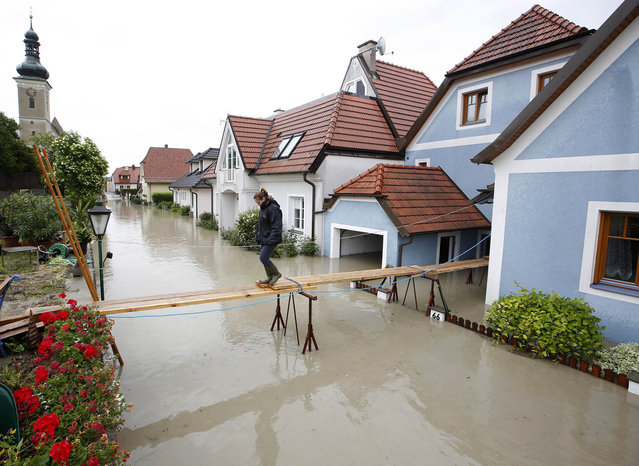 A women crosses a makeshift bridge over overflooded streets in Unterloiben, Austria on June 4, 2013. Torrential rain and heavy flooding hit central Europe. (Photo by Dieter Nagl/AFP Photo)