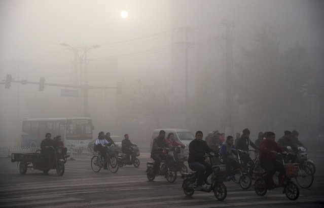 Residents ride bicycles along a street amid heavy haze in Xingtai, Hebei province in this November 3, 2013 file picture. China's pollution crisis has inspired an environmental regulator in a smog-blanketed northern province to write a novel whose extracts have gone viral online, spurring plans for two more books. (Photo by Reuters/China Daily)