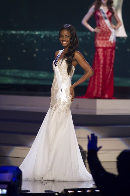 Maggaly Nguema, Miss Gabon 2014 competes on stage in her evening gown during the Miss Universe Preliminary Show in Miami, Florida in this January 21, 2015 handout photo. (Photo by Reuters/Miss Universe Organization)