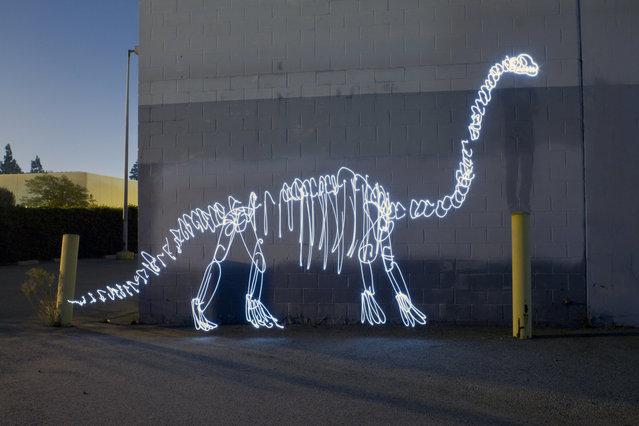 Dinosaur Light Paintings By Darren Pearson