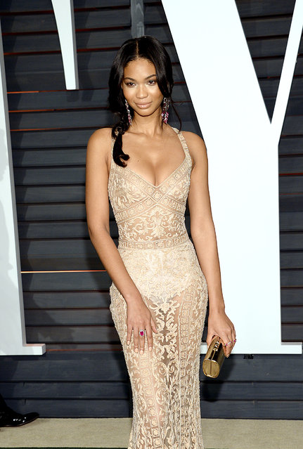 Chanel Iman arrives at the 2015 Vanity Fair Oscar Party on Sunday, February 22, 2015, in Beverly Hills, Calif. (Photo by Evan Agostini/Invision/AP Photo)