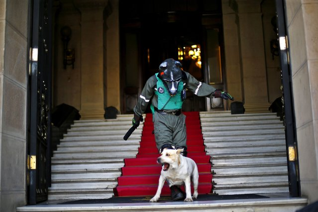 """A protestor wearing a mask and a fake riot police uniform takes part in rally at the """"Club de la Union"""" stairs in Santiago March 11, 2015, supporting the towns of Salamanca and Caimanes in the Choapa River Valley who had been blocking access to Los Pelambres mine. Copper miner Antofagasta said on Wednesday it had reached a deal with protesters who had been blocking access to its Los Pelambres mine in Chile, affecting output. (Photo by Ivan Alvarado/Reuters)"""