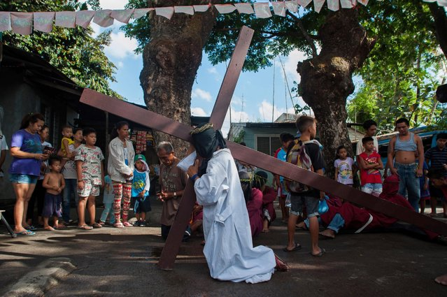 A Catholic devotee carries a cross as a form of penance during holy week, April 2, 2015, in Mabalacat, Philippines. The brutal practice is a form of reenactment of Christ's suffering before being nailed to the cross with thousands of Filipino faithfuls still practicing the act to this day as a form of popular piety. (Photo by Dondi Tawatao/Getty Images)