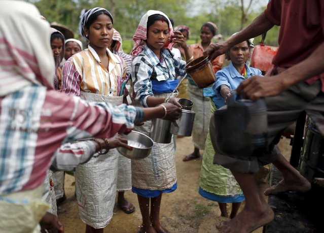 Tea garden workers collect drinking water during a break inside Aideobarie Tea Estate in Jorhat in Assam, India, April 21, 2015. (Photo by Ahmad Masood/Reuters)
