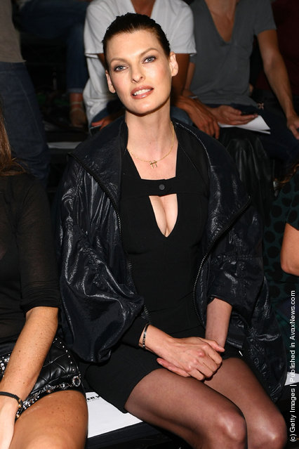Model Linda Evangelista attends the Alexander Wang Spring 2012 fashion show during Mercedes-Benz Fashion Week at Pier 94