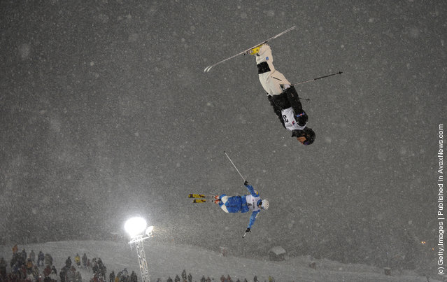 Jeremy Cota of USA and Eddie Hicks of Canada during the FIS Freestyle Ski World Cup Dual Moguls