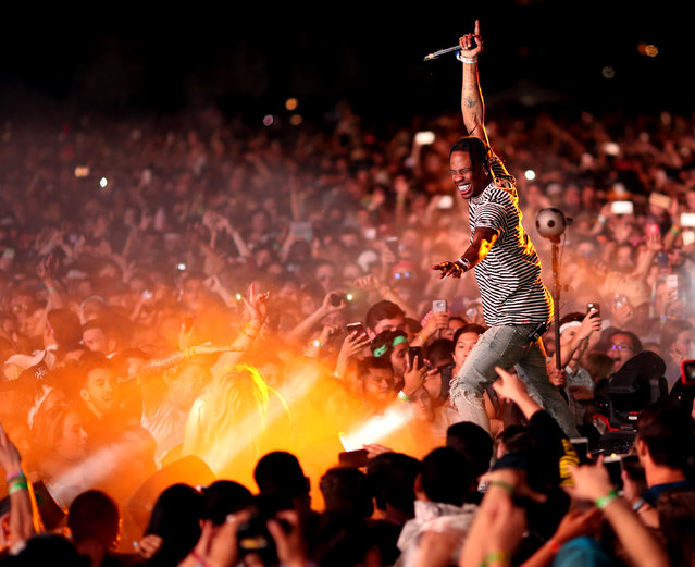 Rapper Travis Scott performs on the Outdoor Stage during day 1 of the Coachella Valley Music And Arts Festival (Weekend 1) at the Empire Polo Club on April 14, 2017 in Indio, California. (Photo by Christopher Polk/Getty Images for Coachella)