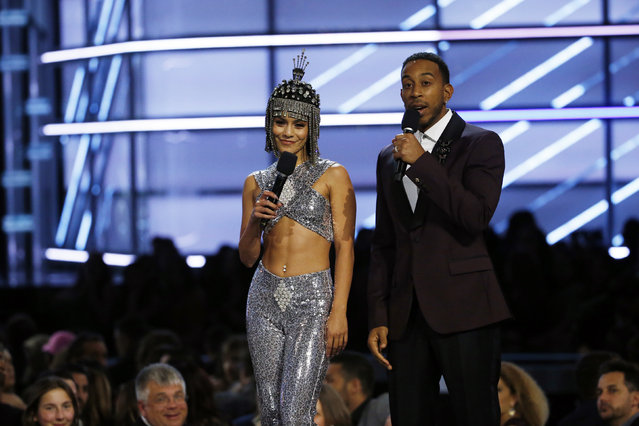 Hosts Vanessa Hudgens and Ludacris during the 2017 Billboard Music Awards at T-Mobile Arena on May 21, 2017 in Las Vegas, Nevada. (Photo by Mario Anzuoni/Reuters)