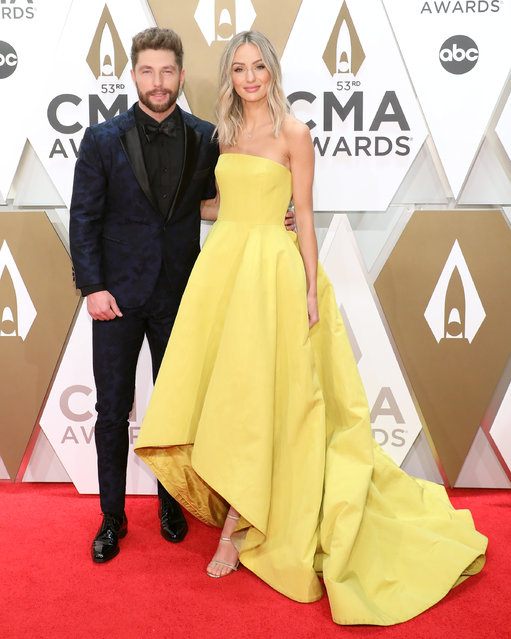 Chris Lane and Lauren Bushnell attend the 53nd annual CMA Awards at Bridgestone Arena on November 13, 2019 in Nashville, Tennessee. (Photo by Taylor Hill/Getty Images)