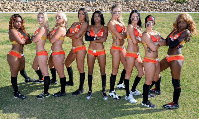 (L-R) Tiffiany Howard #16, Kelly Campbell #3, Danika Brace #8, La Chelle Foreman #13, RaeDeen Callaway #1, Cynthia Schmidt #18, Ashley Brasil #12, Sindy Cummings #7 and LaRonda Kelly #2 pose during media day for the Las Vegas Sin of the Legends Football League at Charlie Frias Park on May 13, 2014 in Las Vegas, Nevada. (Photo by Ethan Miller/Getty Images)