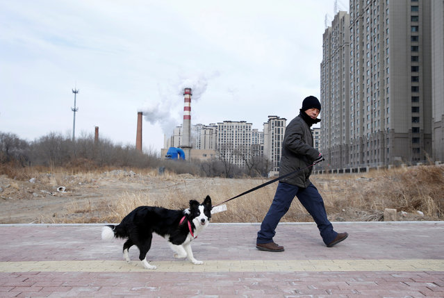 A resident and his dog walk past a coal-fired heating station next to new apartment blocks in Harbin, Heilongjiang province, China on November 26, 2019. (Photo by Jason Lee/Reuters)
