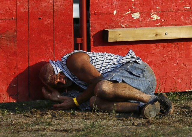 """Bolino Silveira, who emigrated from the Azores to Mississauga, Ontario, tries to protect his head from an attacking bull after falling at an Azorean """"tourada a corda"""" (bullfight by rope) in Brampton, Ontario August 15, 2015. (Photo by Chris Helgren/Reuters)"""