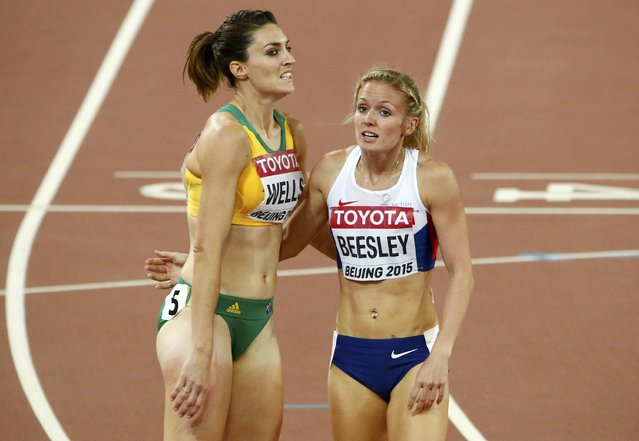 Meghan Beesley of Britain (R) and Lauren Wells of Australia after competing in the women's 400 metres hurdles semi-finals during 15th IAAF World Championships at the National Stadium in Beijing, China August 24, 2015. (Photo by David Gray/Reuters)