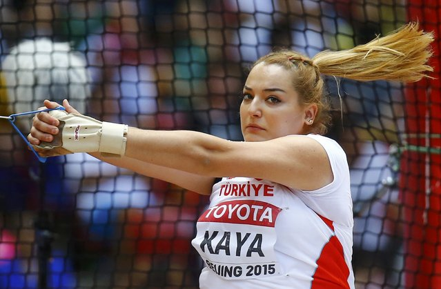 Kivilcim Kaya of Turkey competes in the women's hammer throw qualifying round during the 15th IAAF World Championships at the National Stadium in Beijing, China, August 26, 2015. (Photo by Kai Pfaffenbach/Reuters)
