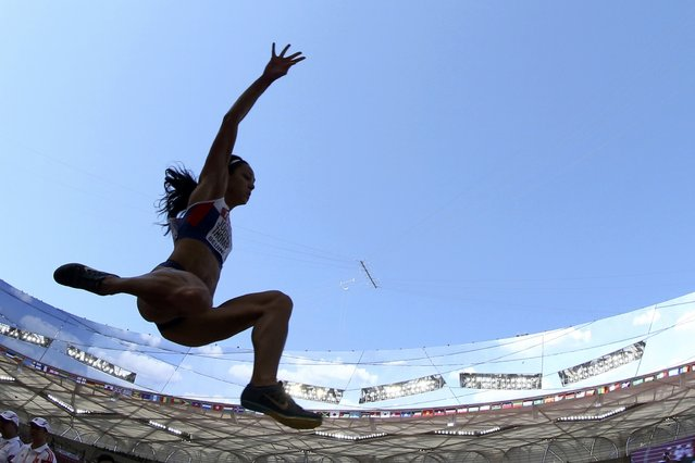 Katarina Johnson-Thompson of Britain competes in the women's long jump qualifying round during the 15th IAAF World Championships at the National Stadium in Beijing, China, August 27, 2015. (Photo by Phil Noble/Reuters)