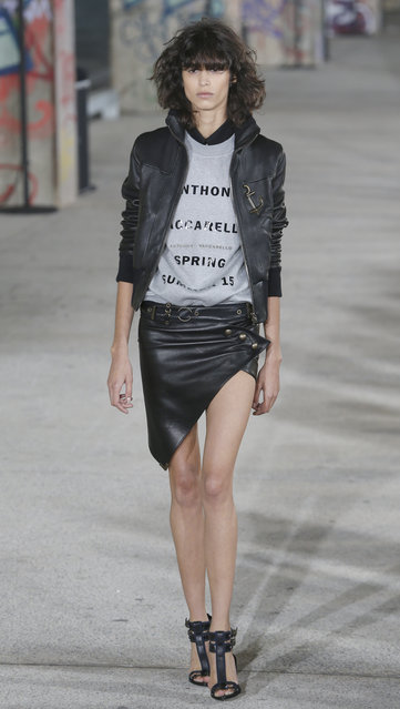 A model wears a creation for Antony Vaccarello's Spring/Summer 2015 ready-to-wear fashion collection, presented in Paris, Tuesday, September 23, 2014. (Photo by Jacques Brinon/AP Photo)