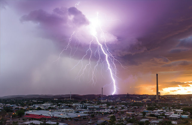March. A lightning strike over Mount Isa mines, Queensland. (Photo by Grant Szabadics/Australian Bureau of Meteorology)