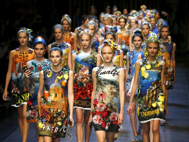 Models parade at the end of the Dolce & Gabbana Spring/Summer 2016 collection show during Milan Fashion Week in Italy, September 27, 2015. (Photo by Stefano Rellandini/Reuters)