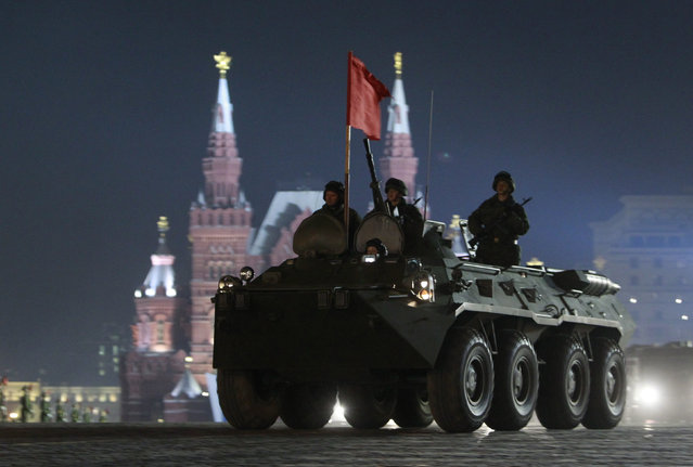 A Russian armored personnel carrier during a rehearsal for the Victory Day parade on Red Square in Moscow, April 26, 2011. (Photo by Sergei Karpukhin/Reuters)