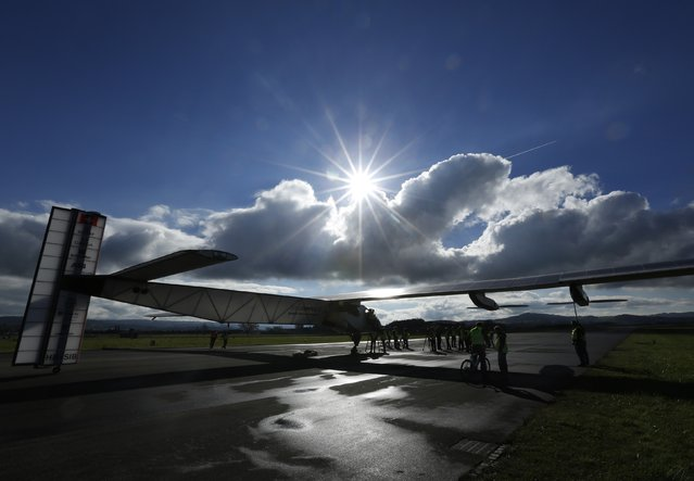 The solar-powered Solar Impulse 2 experimental aircraft, piloted by Swiss Bertrand Piccard, prepares to take off for a test flight in Payerne November 13, 2014. (Photo by Ruben Sprich/Reuters)