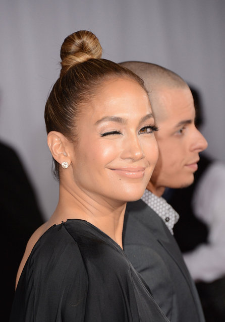 Jennifer Lopez and Casper Smart arrive at the 55th Annual Grammy Awards at the Staples Center on February 10, 2013 in Los Angeles, California. (Photo by WireImage)