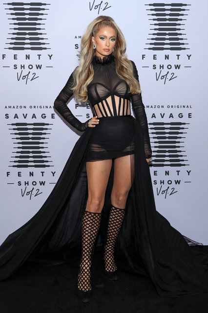 In this image released on October 1, Paris Hilton attends Rihanna's Savage X Fenty Show Vol. 2 presented by Amazon Prime Video at the Los Angeles Convention Center in Los Angeles, California; and broadcast on October 2, 2020. (Photo by Jerritt Clark/Getty Images for Savage X Fenty Show Vol. 2 Presented by Amazon Prime Video)