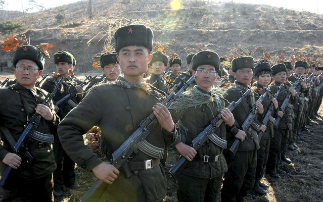 Soldiers of North Korean army participate in military exercises which served as the answer to the joint military maneuvers of South Korea and the USA, on March 13, 2013. (Photo by Reuters/KCNA)