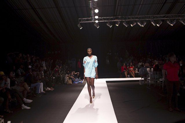 A model wearing clothes by designer House of Marie walks on the runway during Lagos Fashion and Design Week in Lagos, Nigeria, October 29, 2015. (Photo by Joe Penney/Reuters)