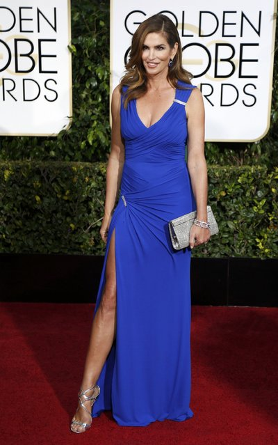 Model Cindy Crawford arrives at the 72nd Golden Globe Awards in Beverly Hills, California January 11, 2015. (Photo by Mario Anzuoni/Reuters)