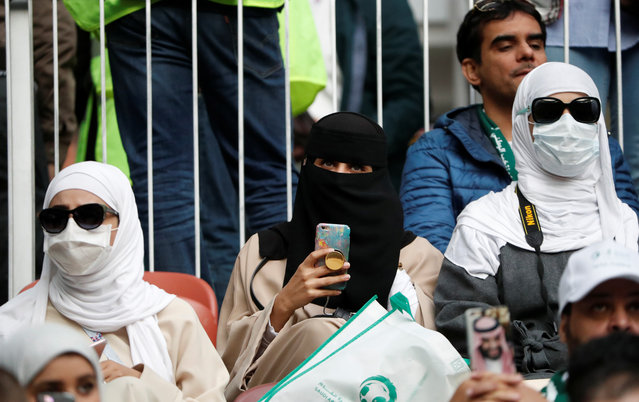 Saudi Arabia fans before the Russia 2018 World Cup Group A football match between Russia and Saudi Arabia at the Luzhniki Stadium in Moscow on June 14, 2018. (Photo by Grigory Dukor/Reuters)