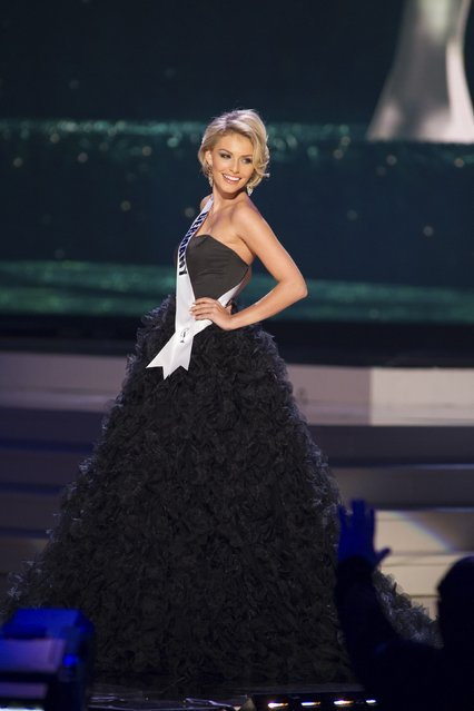 Josefin Donat, Miss Germany 2014 competes on stage in her evening gown during the Miss Universe Preliminary Show in Miami, Florida in this January 21, 2015 handout photo. (Photo by Reuters/Miss Universe Organization)