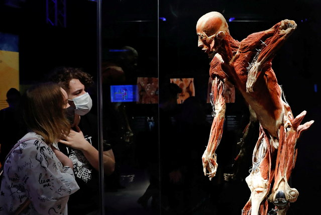 """Visitors look at a plastinated human body during the """"Body Worlds"""" exhibition by German anatomist Gunther von Hagens at a pavilion of the Exhibition of Achievements of National Economy (VDNKh) in Moscow, Russia on March 24, 2021. Head of Russian Investigative Committee Alexander Bastrykin ordered a probe of the exhibition after it sparked outrage among conservative religious groups and public figure. (Photo by Evgenia Novozhenina/Reuters)"""