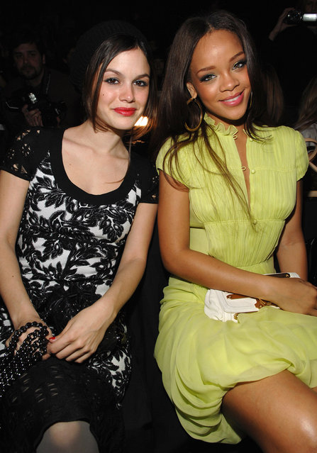 Rachel Bilson and Rihanna during Mercedes-Benz Fashion Week Fall 2007 – Zac Posen – Front Row and Backstage at The Tent, Bryant Park in New York City, New York, United States. (Photo by Dimitrios Kambouris/WireImage)