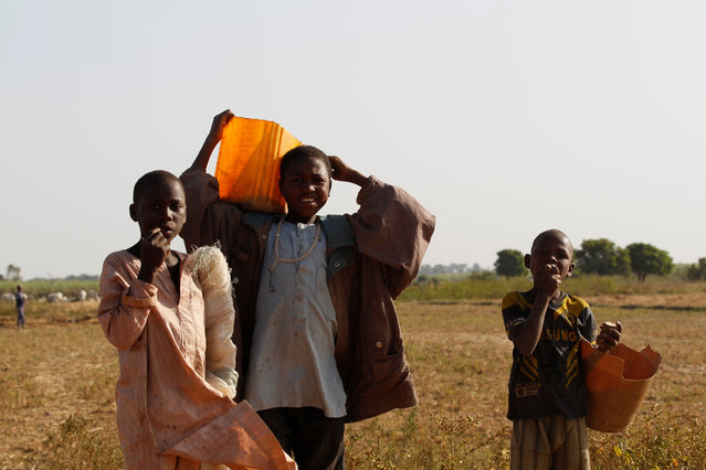 Children holding plastic containers search for water on the outskirt of Zaria in Nigeria's northern state of Kaduna November 15, 2016. (Photo by Akintunde Akinleye/Reuters)
