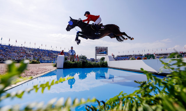 Karen Polle of Japan competes aboard With Wings during the second qualifier for Jumping at the FEI World Equestrian Games 2018 at the Tryon International Equestrian Center in Mill Spring, North Carolina, USA, 20 September 2018. The World Equestrian Games continue through 23 September 2018. (Photo by Erik S. Lesser/EPA/EFE)