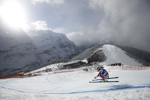 Austria's Klaus Kroell competes during a men's Alpine Skiing World Cup downhill in Wengen, Switzerland, Saturday, January 16, 2016. (Photo by /Shin Tanaka/AP Phot)