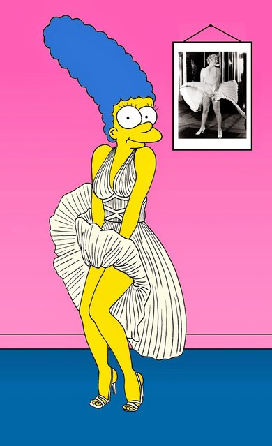 Marge Simpson Marilyn Monroe William Travilla Humor Chic by aleXsandro Palombo.