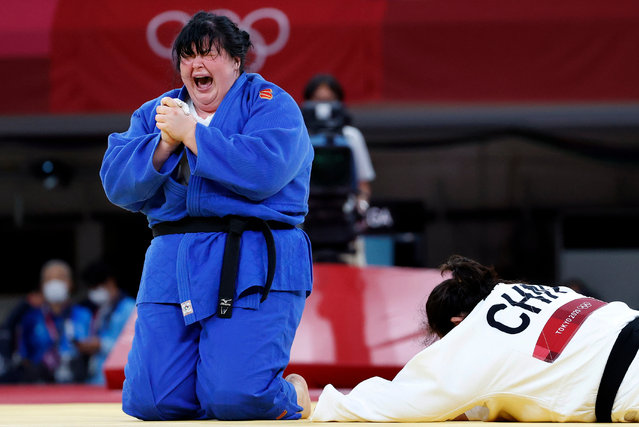 Iryna Kindzerska of Azerdbaidjan reacts after defeating Shiyan Xu of China during the Women +78 kg Contest for Bronze Medal A contest at the Judo events of the Tokyo 2020 Olympic Games at the Nippon Budokan arena in Tokyo, Japan, 30 July 2021. (Photo by Ritchie B. Tongo/EPA/EFE)
