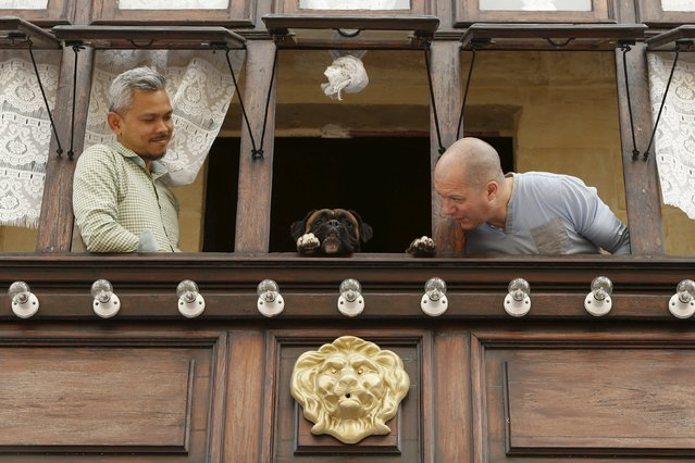 Two men and a dog wait in a balcony for a statue of the Risen Christ to be carried past their house during an Easter Sunday procession in Cospicua, outside Valletta April 5, 2015. (Photo by Darrin Zammit Lupi/Reuters)