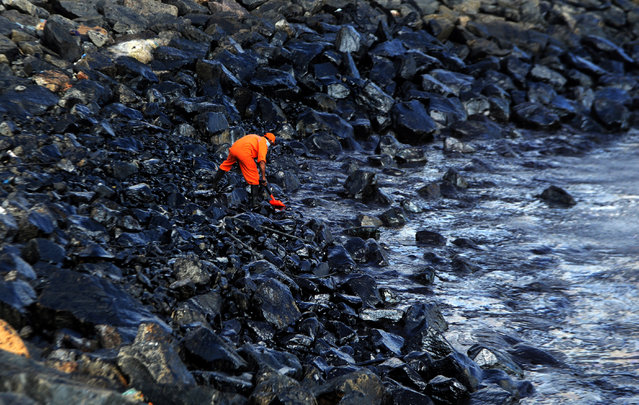 A member of the Pollution Response Team collects a sample of an oil spill from boulders at the coast, a day after an oil tanker and an LPG tanker collided off Kamarajar Port in Ennore, in Chennai on January 30, 2017. (Photo by Arun Sankar/AFP Photo)