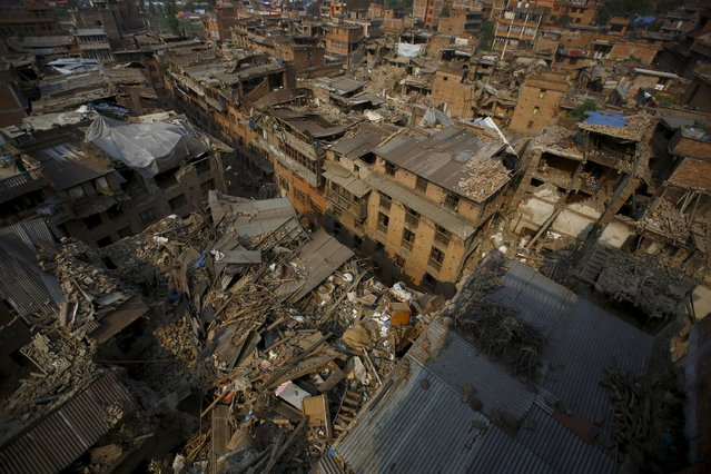 Collapsed houses are pictured after the April 25 earthquake in Bhaktapur, May 7, 2015. (Photo by Navesh Chitrakar/Reuters)