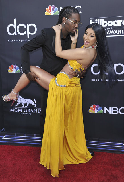 Offset, left, and Cardi B arrive at the Billboard Music Awards on Wednesday, May 1, 2019, at the MGM Grand Garden Arena in Las Vegas. (Photo by Richard Shotwell/Invision/AP Photo)