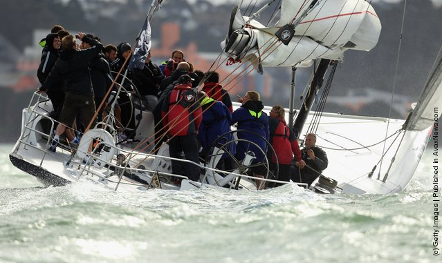 The England IRB Rugby World Cup 2011 squad enjoy a sailing day on ex-America's Cup yachts on Auckland's Waitemata Harbour