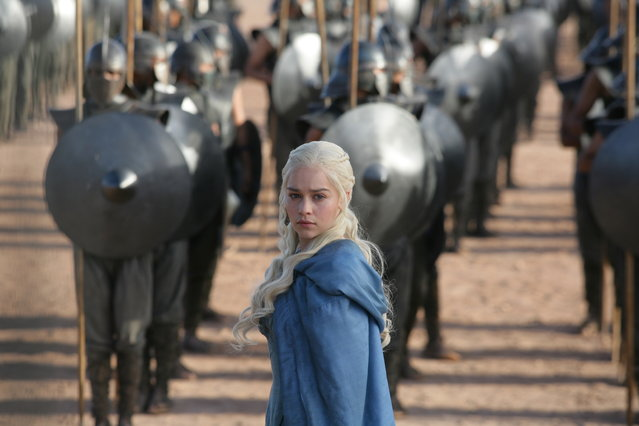 "This image released by HBO shows Emilia Clarke in a scene from ""Game of Thrones"". (Photo by HBO via AP Photo)"
