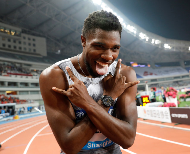 Noah Lyles of USA celebrates after winning the men's 100m athletics event during the IAAF Diamond League competition in Shanghai on May 18, 2019. (Photo by Aly Song/Reuters)