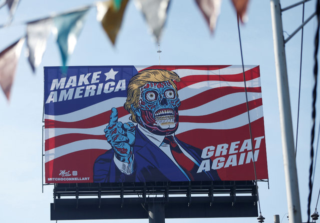 A giant billboard shows a drawing depicting U.S. President Donald Trump, along Periferico avenue in Mexico City, Mexicom July 28, 2017. (Photo by Henry Romero/Reuters)