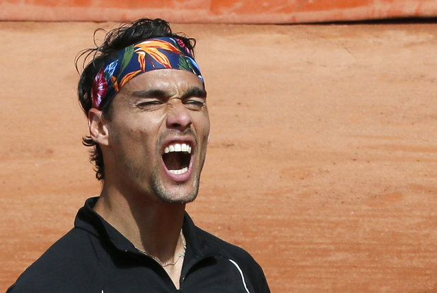 Fabio Fognini of Italy reacts during the men's singles match against Japan's Tatsuma Ito at the French Open tennis tournament at the Roland Garros stadium in Paris, France, May 25, 2015. (Photo by Gonzalo Fuentes/Reuters)
